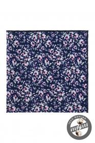 Sötét kék díszzsebkendő, rózsaszín virágokkal