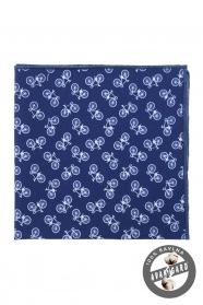 Kék díszzsebkendő, kerékpár minta