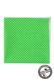 Zöld pamut díszzsebkendő fehér pöttyökkel