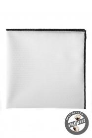 Fehér pamut díszzsebkendő fekete szegellyel