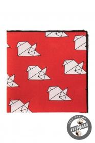 Érdekes origami mintás piros díszzsebkendő