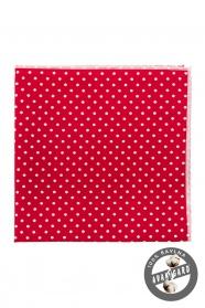 Díszzsebkendő apró fehér pöttyökkel - Piros