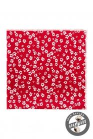 Díszzsebkendő apró fehér virágos mintával - Piros