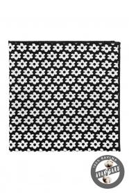 Díszzsebkendő fehér virágos mintával - Fekete
