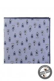 Pamut kék díszzsebkendő üzenet az üvegben mintával