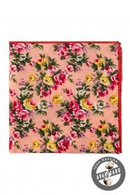 Pamut púder díszzsebkendő nagy virágos mintával