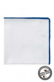 Luxusos fehér/világoskék pamutos díszzsebkendő