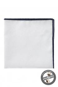 Luxusos fehér/kék pamutos díszzsebkendő