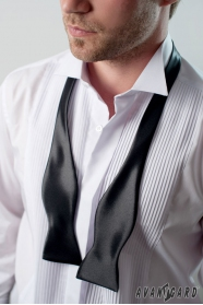 Klasszikus, fénylő fekete, megkötős férfi csokornyakkendő
