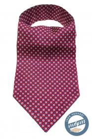 Piros Ascot kék-fehér mintával