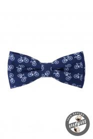 Kék pamut csokornyakkendő, kerékpár minta
