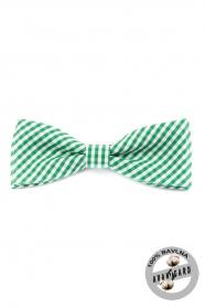 Zöld-fehér kockás, prémium, férfi csokornyakkendő