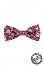 Bordó csokornyakkendő rózsaszín virágokkal