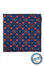 Selyem piros és kék mintás díszzsebkendő