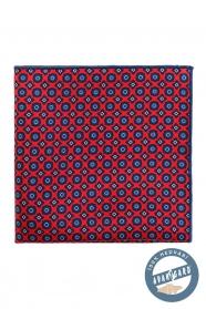 Selyem kék mintás piros díszzsebkendő