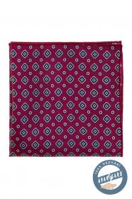 Gyönyörű bordó mintás selyem díszzsebkendő