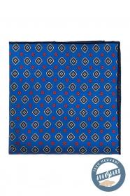 Gyönyörű kék mintás selyem díszzsebkendő