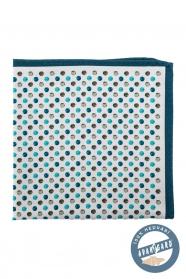 Selyem díszzsebkendő bolygós mintával - Türkiz, kék