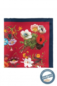 Selyem díszzsebkendő bouquet - Kék/Piros