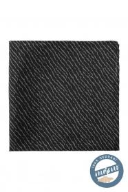 Selyem díszzsebkendő tépett mintával - Fekete