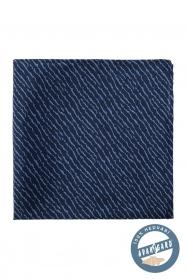 Selyem díszzsebkendő tépett mintával - Sötétkék