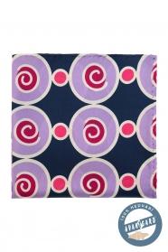 Kék selyem díszzsebkendő, különleges körökkel