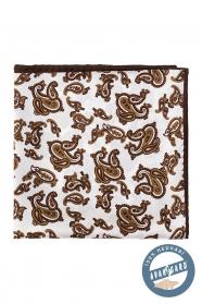 Selyem díszzsebkendő, barna színű Paisley motívumokkal