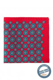 Selyem díszzsebkendő kék kerek-virágos mintával - Piros