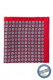 Selyem díszzsebkendő kék kockás-virágos mintával - Piros