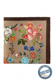 Selyem díszzsebkendő sokféle virág és lepke mintával - Barna, Bézs