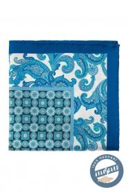 Selyem díszzsebkendő virágos és kocka mintával - Kék