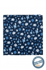 Virágos mintás sötétkék selyem díszzsebkendő