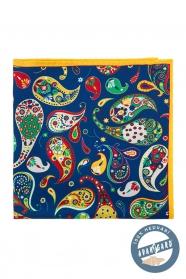 Hagyományos mintás kék selyem díszzsebkendő
