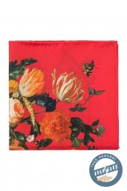 Klasszikus virágos piros selyem díszzsebkendő