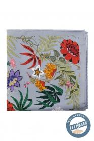Mezei virágos fehér szürke selyem díszzsebkendő