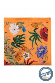Mezei virágos narancs selyem díszzsebkendő