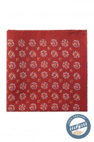 Téglaszín virágos mintás selyem díszzsebkendő