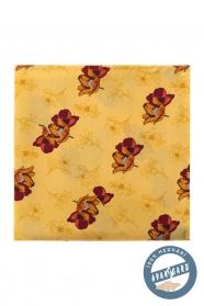 Sárga selyem díszzsebkendő virágokkal