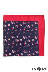 Díszzsebkendő apró virágokkal - Kék/Piros