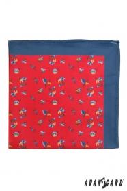 Kék díszzsebkendő mintával piros háttéren