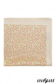 Díszzsebkendő apró virágos mintával - Bézs