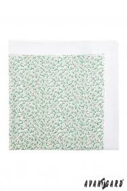 Díszzsebkendő apró zöld-rózsaszín mintával - Fehér