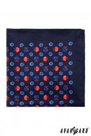 Díszzsebkendő kék és piros kis virágos mintával - Sötétkék