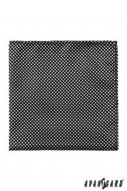 Fekete díszzsebkendő vastagon pöttyös mintával