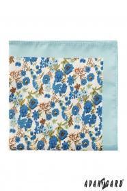 Premium menta díszzsebkendő kék virágokkal