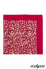 Piros díszzsebkendő virágos mintával