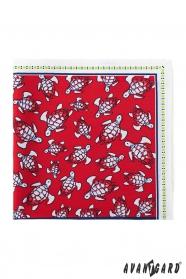 Fehér díszzsebkendő piros téren teknőcös mintával