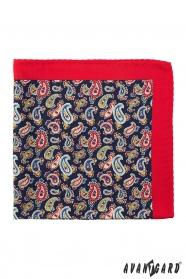 Hagyományos cseppes mintás piros díszzsebkendő