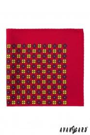 Vörös díszzsebkendő virágos mintáva