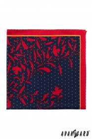 Piros sarkú díszzsebkendő pöttyös virágos mintával